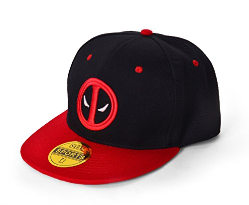 REINDEAR Deadpool Baseball Cap Hip-hop Snapback Hat US Seller (Black - Red)]()
