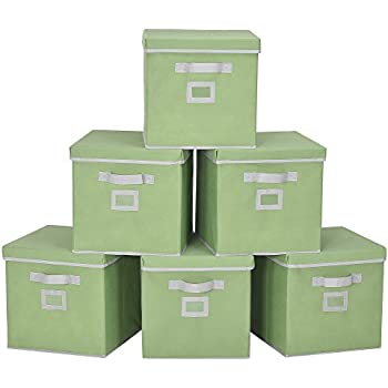 storageworks storage cube box with lid fabric storage bin green large 6 pack 11. Black Bedroom Furniture Sets. Home Design Ideas