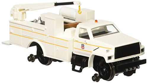 Dcc Union (Bachmann Industries Maintenance of Way Hi Rail Equipment Truck with Crane DCC Equipped Union Pacific, White/ Yellow, HO Scale)