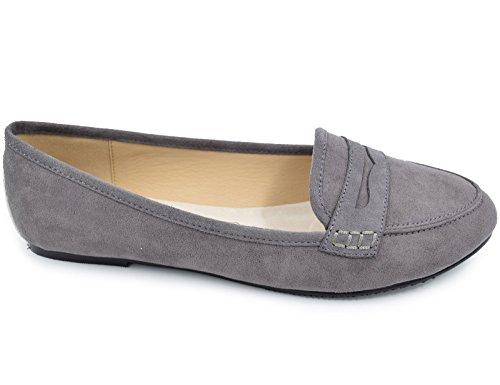 Femme Greatonu 36 Gris Suédé Chaussures 41 Eu Plat Mocassins H66S5nB
