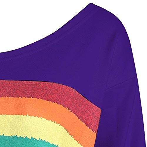 LULIKA Grande Manches Occasionnels Over Loose Femme Pull Chemisier Longues Sweatshirt Rainbow Shirt Sweat Violet Print Taille rqBxtrg0