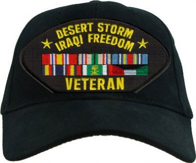 Desert Storm Iraq Freedom Veteran with Ribbons Cap by Eagle Crest