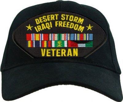Desert Storm Iraq Freedom Veteran with Ribbons Cap