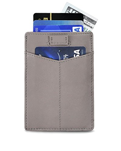 Travel Wallet RFID Blocking Bifold Slim Genuine Leather Thin Minimalist Front Pocket Wallets for Men Money Clip Credit Card Holder - Made From Full Grain Leather (Titanium Gray - Titanium Made From Products