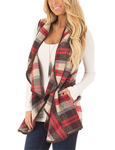 Aking Ace Women's Color Block Lapel Open Front Sleeveless Plaid Vest Cardigan with Pockets Red and Brown