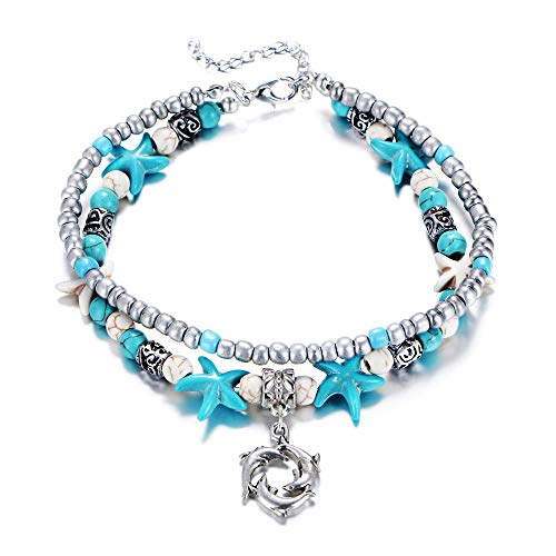 - Fesciory Women Starfish Turtle Anklet Multilayer Adjustable Beach Alloy Ankle Foot Chain Bracelet Boho Beads Jewelry(Dolphin)