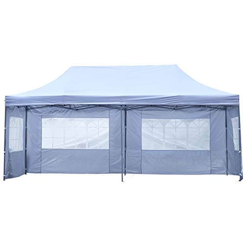 (Outdoor Basic 10x20 Ft Canopy Wedding Party Pop up Tent Heavy Duty Instant Gazebo with Removable Sidewalls White)