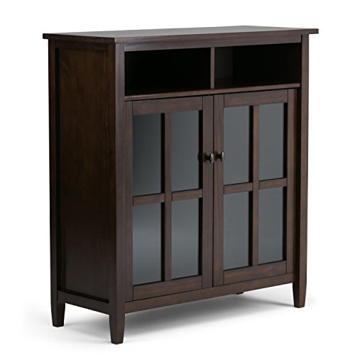 Simpli Home Warm Shaker Solid Wood Medium Storage Media Cabinet, Tobacco Brown (Media Storage Set Cabinet)