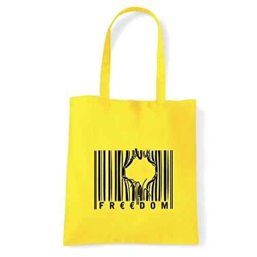 Art T-Shirt, Tasche Shoulder Strichcode Freedom Gelb