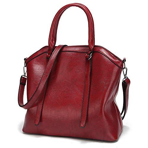 Moda Borse Capacità Da Libero A Red Donna Tracolla Manici Pelle Con Per Il Borsa In Morbida Vintage Alla Bag Shopping Tote Tempo Grande AqWZwz7z