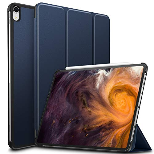 Infiland iPad Pro 12.9 2018 Case, Tri-Fold Case Cover Compatible with iPad Pro 12.9 Inch 3rd Gen 2018 Release (Support 2nd Gen Apple Pencil Wireless Charging, Auto Wake/Sleep), Navy