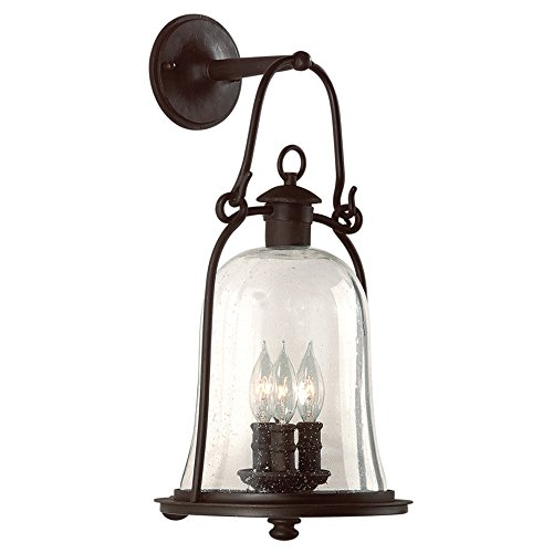(Troy Lighting Owings Mill 3-Light Outdoor Wall Lantern - Natural Bronze Finish with Clear Seeded Glass)