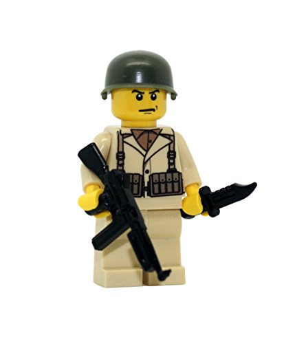 Modern Brick Warfare US Army American WW2 Thompson Soldier Custom Minifigure ()