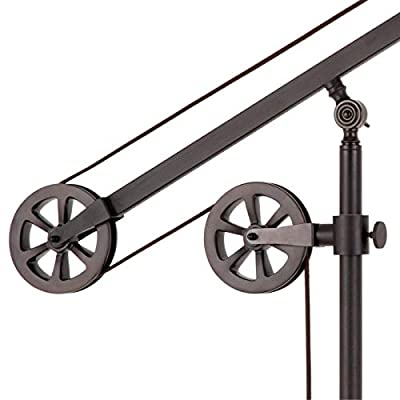 Heath & Cliff Descartes Industrial Farmhouse Table Lamp in Blackened Bronze with Pulley System