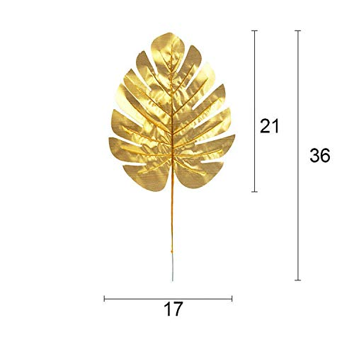 Minyu 12pcs Set 2 Colors Artificial fake Monstera palm Leaves green plants wedding DIY decoration arrangement plant leaf,Gold M ()
