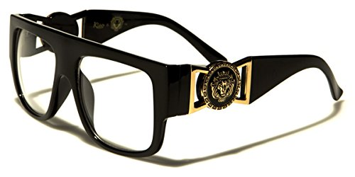 Kleo Flat Top Aviator RX Glasses Gold Buckle Hip Hop Rapper DJ Celebrity Clear Lens - Designer Glasses Womens