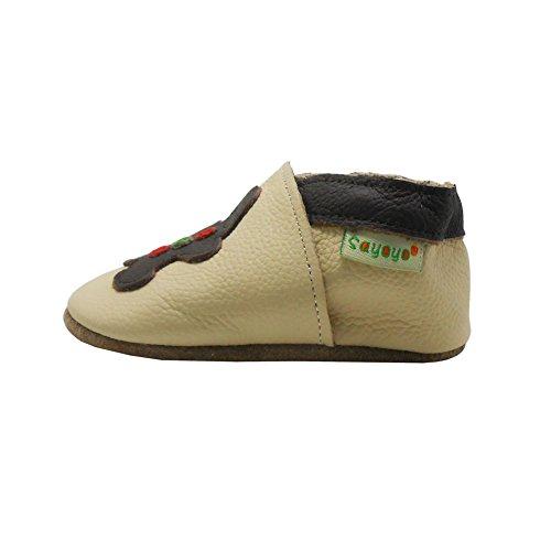 Sayoyo Suaves Zapatos De Cuero Del Bebé Zapatillas oso beige