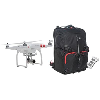 DJI Phantom 3 Standard Quadcopter Aircraft with 3-Axis Gimbal and 2.7k Camera - Bundle with Spare Battery for Phantom 3 4480mAh Capacity, DJI Phantom Backpack, Black/Red