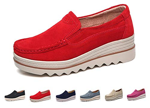 Eagsouni Women Platform Slip On Loafers Comfort Suede Casual Sneaker Fashion Moccasins Low Top Mid Heel Wedge Penny Shoes Red