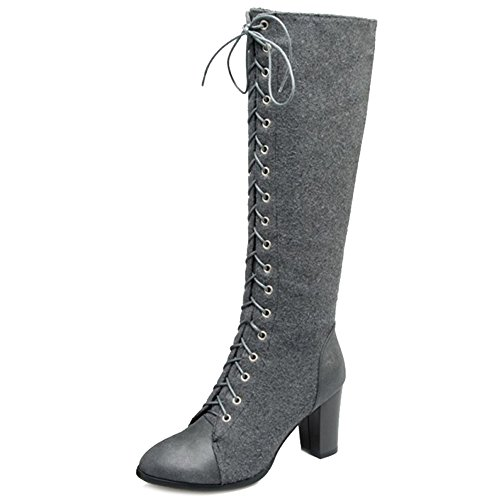 Available Boots Toe and 4 with Size with Pointed and Boots Fashion up Lace Large Long CHICMARK Colors Grey Women vq8WT