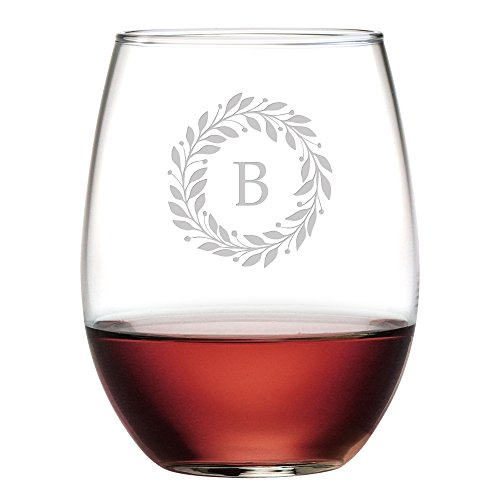 4 Wine Glass Letter - Susquehanna Glass Monogrammed Stemless Glasses with Sand Etched Berry Wreath Letter, Set of 4, B, 15 oz
