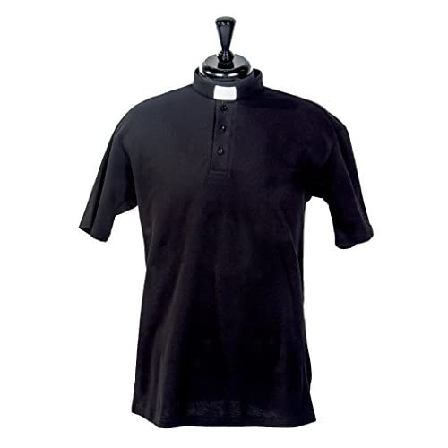 217a017ad8 durable service Mercy Robes Mens Clergy Polo Short Sleeves TAB Shirt (Black)
