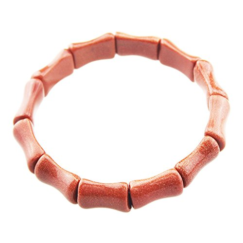 (FOY-MALL Bamboo Shape Goldstone Beads Link Bracelet for Women E1082)