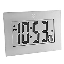 Marathon CL030064GG 9 Large Digital Frame Clock with 3.25 Digits - Batteries Included (Graphite Grey)