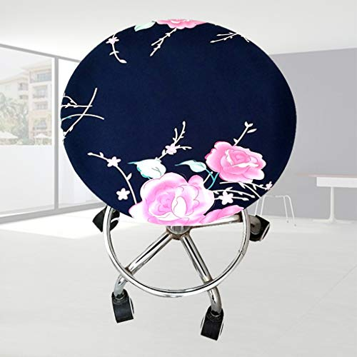 - WEEFORT 1 Pc Soft Elastic Spandex Round Chair Cover Four Seasons Washable Floral Print Slipcover Removable Bar Stool Case