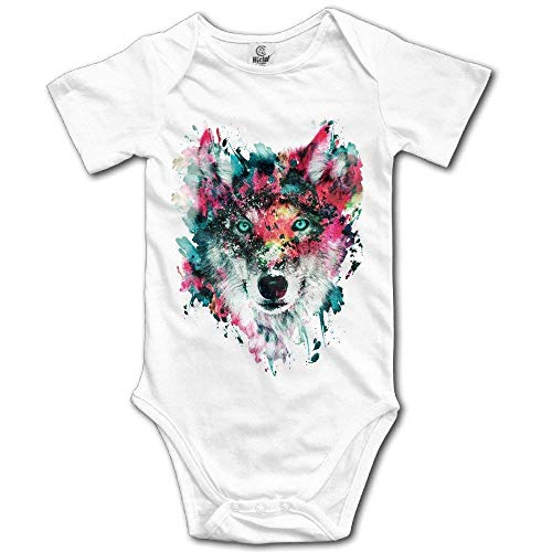 Digital Art Wolf Newborn Boys Girls Short Sleeve Baby Onesie Bodysuits White Boy Digital Photo Announcement