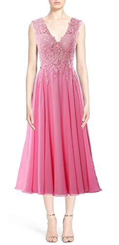 MACloth Gorgeous Tea Length Prom Homecoming Dress V Neck Formal Evening Gown Blanco