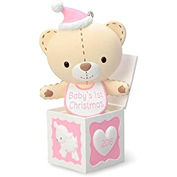 hallmark 2016 baby girls first christmas pink teddy bear christmas ornament