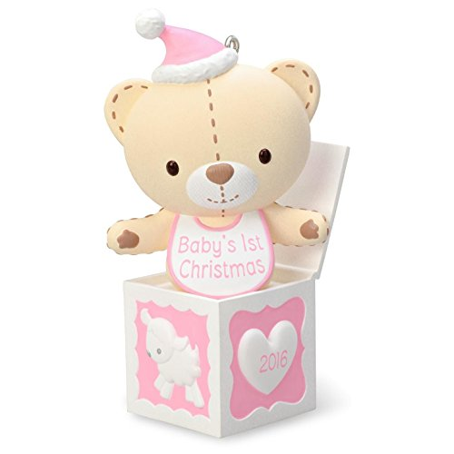 Hallmark 2016 Baby Girl's First Christmas Pink Teddy Bear Christmas Ornament