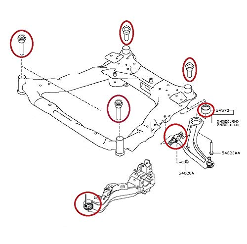 Amazon Com Cradle Subframe Crossmember Rear Trailing Front Lower