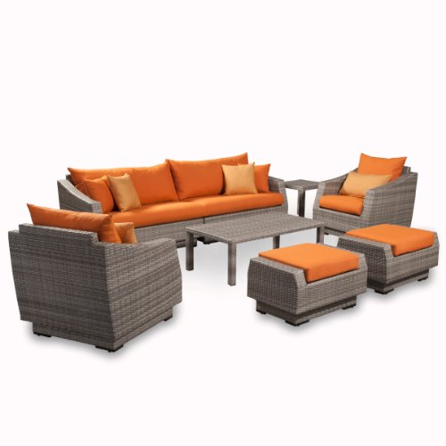 Deep Seating Club Chair Cushion (RST Brands 8-Piece Cannes Sofa and Club Chair Deep Seating Group Patio Furniture Set, Tikka Orange)