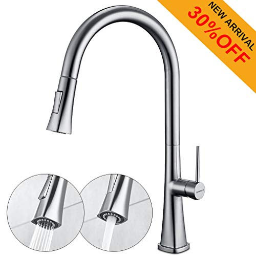 Kitchen Faucet with Pull Down Sprayer Single Handle High Arc Pull Out Kitchen Sink Faucet Without Deck Plate,Brushed Nickel