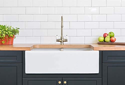 - Barkano Farmhouse Kitchen Sink White Double Bowl Fireclay with Apron Front Undermount Installation Reversible Smooth Fluted 33 X 20 X 10 Inches