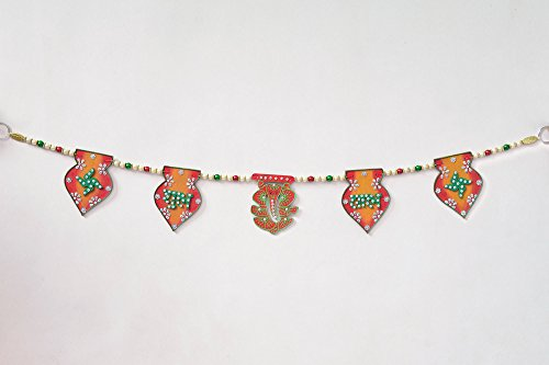 Handcrafted Tricolour Ganesh Swastika And Shubh Labh Toran