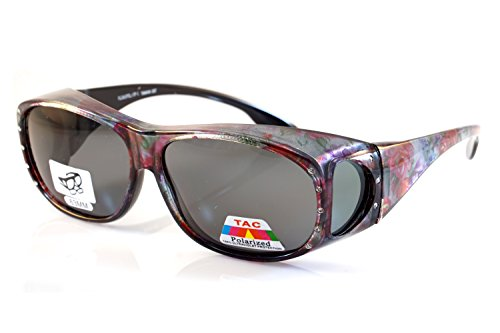 FBL Large Bling Polarized Fit Over Glasses Sunglasses with Side View P012 (Purple Red ()