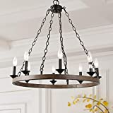 LOG BARN 8 Lights Farmhouse Island Pendant Wagon Wheel Lightening Chandelier in Metallic Faux Wood Finish, 26'' Medium Kitchen Light Fixture, A03470