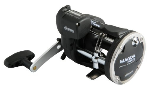 Plus Line Counter Reel - Okuma Magda Pro Line Counter Levelwind Trolling Reel, Small, Black/Silver, MA-30DX