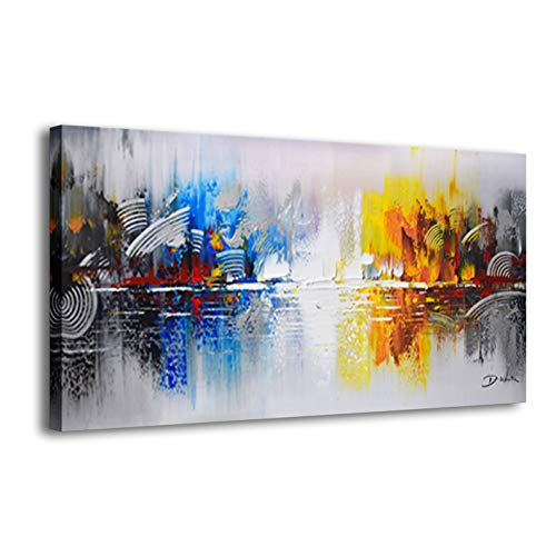 (ARTLAND Framed Cityscape Modern Oil Painting on Canvas Contemporary Abstract Building Artwork Stretched Wall Art Décor for Living Room Home Decoration 24x48 inches)