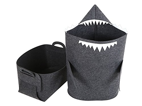 Kids' Laundry Hamper/Basket & Storage Bin - 2-in-1 Set by ARTIT. Both Shark & Box Made of Premium Quality Felt, Non-Woven, Eco-Friendly, Convenient & Multi-Functional. Dark Gray