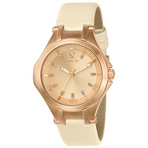 Invicta 23254 Womens Gabrielle Union Rose Gold Dial Beige Leather Strap Diamond Watch