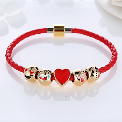 Eccosa-Fashion-18K-Gold-Plated-Animals-Emoji-Faces-Charms-Bracelets-with-Lucky-Red-Leather-Rope-for-Girls