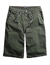 WenVen Men's Patterned Cargo Walking Shorts Slim Fit(3283 Lily Orange Red,US size 36/Label 38)