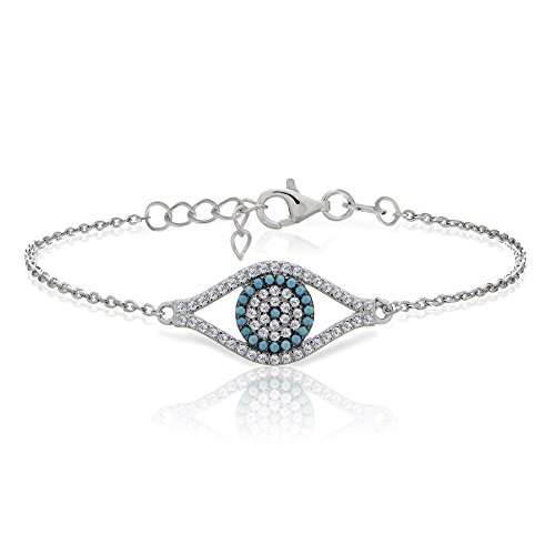 Ice Gems Sterling Silver Simulated Turquoise and Cubic Zirconia Evil Eye Bracelet