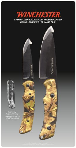 Winchester 31-002401 Knife Set with Camo Fixed Blade and 3-Inch Folder, 2-Piece