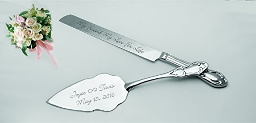 (Personalized Silver Baroque Wedding Cake Knife & Server Engraved Free)