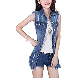 Tanming Women's Sleeveless Button Down Ripped Denim Jean Vest Waistcoat (XX-Large, Vest-Blue)